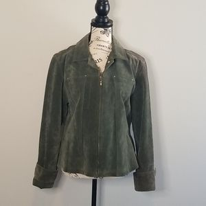 Live a Little Green Leather Moto Jacket Large